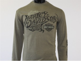 Longsleeve, Mood, Harley-Davidson, Oliv