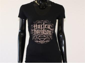 T-Shirt, Grandiose, Harley-Davidson, Schwarz