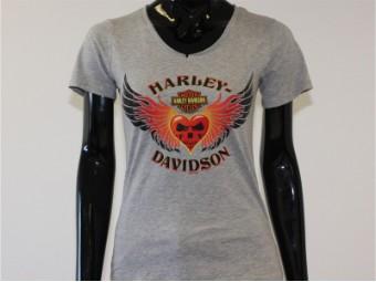 T-Shirt, Heart Fire, Harley-Davidson, Grau
