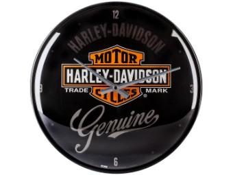 Wanduhr, Nostalgische Art, Harley-Davidson, Schwarz