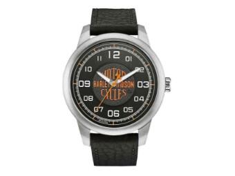 Armbanduhr, Bar & Shield, Harley-Davidson, Edelstahl/Leder