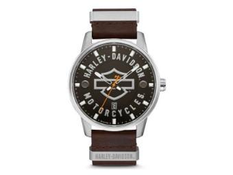 Armbanduhr, Bar & Shield, Harley-Davidson, Braun, Silber