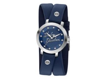 Armbanduhr, Crystal, Double Wrap, Harley-Davidson, Blau
