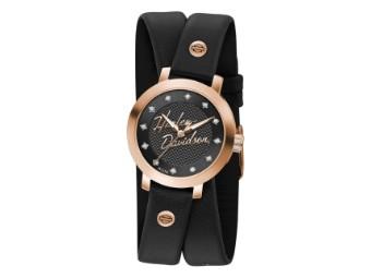 Armbanduhr, Doppeltgewickeltes Lederarmband, Harley-Davidson, Roségold, Schwarz