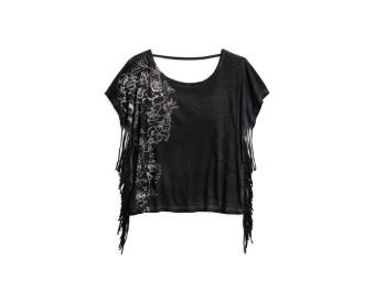Shirt Top, Black Fringe Oversized, Harley-Davidson, Schwarz