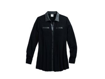 Langarmshirt, Coated Accent Shirt, Harley-Davidson, Schwarz