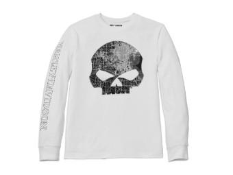 Longsleeve, Milwaukee Map Skull, Harley-Davidson, Weiß