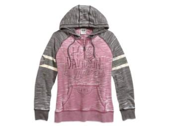Pullover, Burnout Sleeve Stripe Hoodie, Harley-Davidson, Pink/Grau