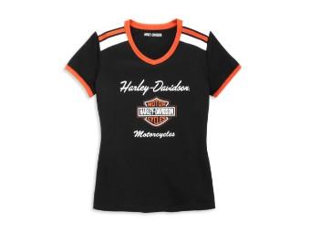 T-Shirt, V-Ausschnitt, Schulterstreifen, Harley-Davidson, Schwarz/Weiß/Orange