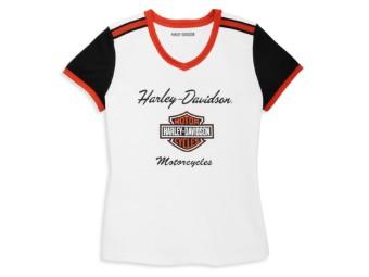 T-Shirt, Iconic, V-Neck, Harley-Davidson, Weiß