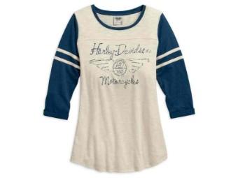 Shirt, 3/4 Sleeve, Colorblock, Harley-Davidson, Creme