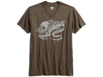 T-Shirt, Winged Skull, Slim Fit, V-Neck, Harley-Davidson, Braun