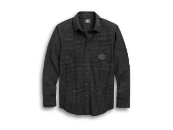 Hemd, Langarm, Shirt-Textured, Harley-Davidson, Schwarz kariert