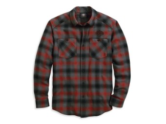 Hemd, Herringbone, Harley-Davidson, Grau/Rot/Schwarz