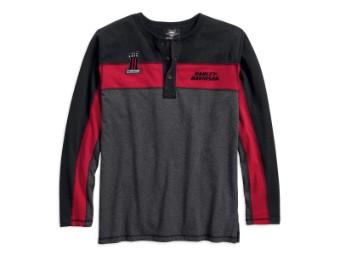 Langarmshirt, Henley, Colorblock, Harley-Davidson, Grau/Schwarz/Rot