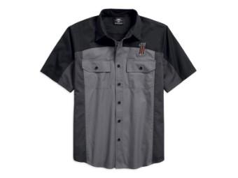 Hemd, Kurzarm, 1# Colorblock, Harley-Davidson, Grau/Schwarz