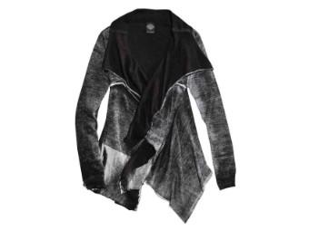 Strickjacke, Sleeve Fly-Away Cardigan Sweater, Harley-Davidson, Schwarz