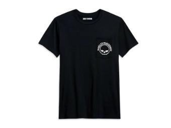 T-Shirt, Harley-Davidson mit Skull Brusttasche vorne links, Schwarz