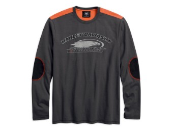 Pullover, Screamin' Eagle, Harley-Davidson, Grau/Orange/Schwarz