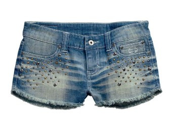 Short, Studded, Denim, Harley-Davidson, Blau