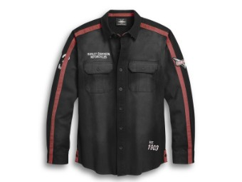 Shirt, Langarm, Sleeve Stripe Over, Harley-Davidson, Schwarz/Rot