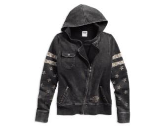 Pullover, Distressed Biker, Harley-Davidson, Schwarz