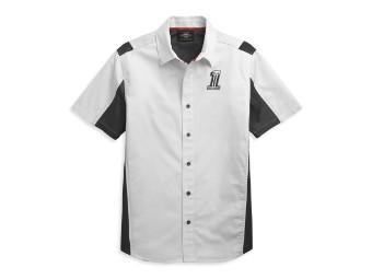 Hemd, Kurzarm, Performance Colorblock #1, Weiß/Schwarz