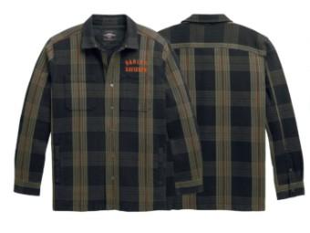 Shirt Jacke, Arched Logo, Harley-Davidson, Braun gestreift