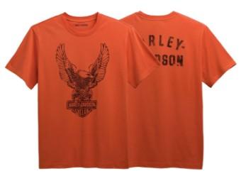 T-Shirt, Winged Eagle, Harley-Davidson, Orange