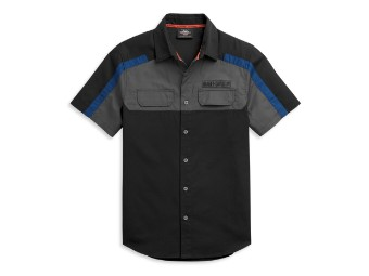Hemd, Kurzarm, Block Letter Logo, Harley-Davidson, Schwarz/Grau/Blau