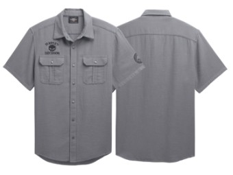 Hemd, Skull Logo, Textured, Harley-Davidson, Grau