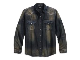 Hemd, Distressed Over-Dyed, Harley-Davidson, Grau