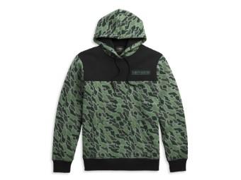 Pullover, Hoodie, Colorblock, Camouflage, Harley-Davidson, Grün