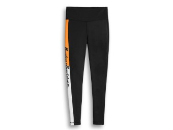 Leggings, Activewear, Colorblock, Harley-Davidson, Schwarz/Orange/Weiß