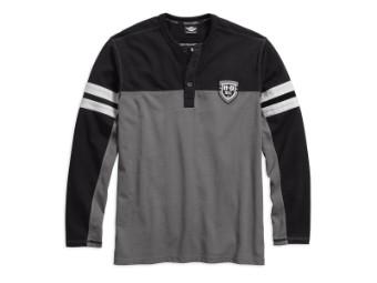 Langarmshirt, Colorblock Hanley, Harley-Davidson, Schwarz/Grau