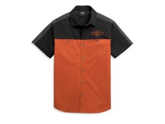 Hemd, Colorblock, Harley-Davidson, Orange/Schwarz/Grau