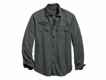 Hemd, Winged Logo, Slim Fit, Harley-Davidson, Schwarz