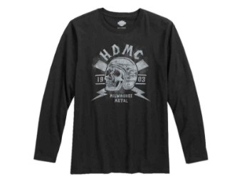Longsleeves, HDMC Skull, Harley-Davidson, Schwarz