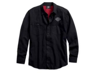 Hemd, Cotton, Langarm, Harley-Davidson, Schwarz