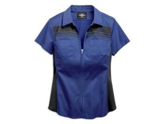 Hemd, Kurzarm, Reißverschluss vorne, Harley-Davidson, Marineblau