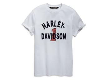 T-Shirt, Cracked Print, Slim Fit, Harley-Davidson, Weiß