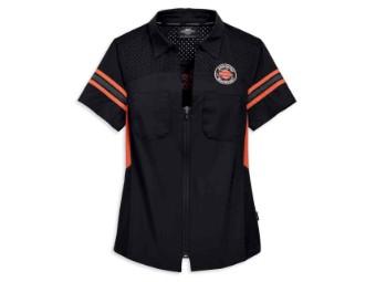 Bluse, Performance, Harley-Davidson, Schwarz/Orange