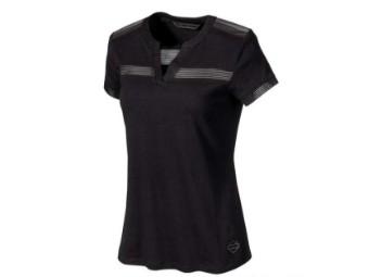 T-Shirt, Striped, Mesh, Harley-Davidson, Schwarz