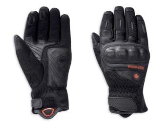 Handschuhe, Leder, Woodcreek, Mesh, Harley-Davidson, Schwarz
