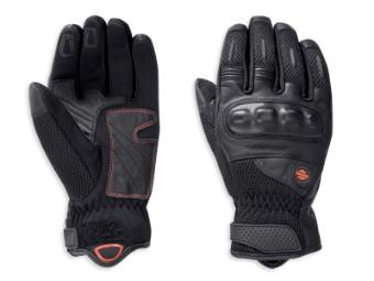 Handschuhe, Kendleton, Mesh, Leder, Harley-Davidson, Schwarz
