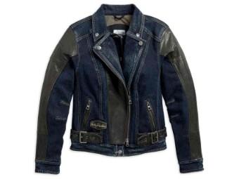 Jacke, Lederakzente, Harley-Davidson, Blau