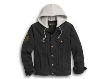 Jacke, Skull Flag, Denim, Harley-Davidson, Schwarz/Grau