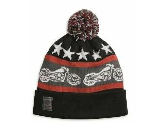 Mütze, Bommel, Harley-Davidson, Schwarz/Weiß/Rot