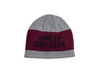 Mütze, Reversibel, Harley-Davidson, Grau/Rot