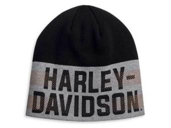 Mütze, Stripe, Harley-Davidson, Schwarz/Grau/Orange